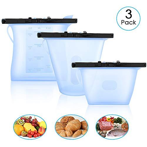 U UZOPI Sacchetti Riutilizzabili per Alimenti in Silicone, 3 Pezzi Sacchi Portaoggetti (1L, 0.8L, 0.4L) Senza BPA, Borsa per Alimenti per Conservare Frutta, Verdura, Carne, Bevande 2