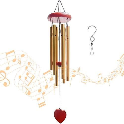 RIOGOO campanelli eolici, campanelli eolici all'aperto Grandi Toni Profondi Incredibile Grazia campanelli Carillon in Metallo per Giardino, Patio, Balcone e casa (d'oro)