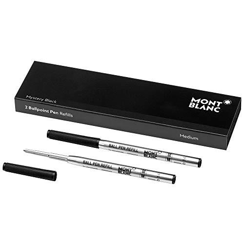 Montblanc 116190 – Refill (M) per penne a sfera, colore Mystery Black (nero) – Ricariche di alta qualità e colore intenso, punta: media, 1 x 2 Refill