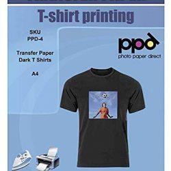 PPD A4 Carta Trasferibile Termoadesiva Per Stampanti A Getto D'Inchiostro Inkjet – T-Shirt E Tessuti Di Colore Scuro x 10 Fogli – PPD-4-10
