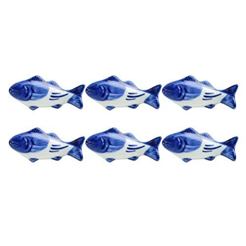 UPKOCH – Supporto creativo per bacchette in ceramica, a forma di pesce, per forchetta, coltello, cucchiaio, supporto per matrimoni, feste, decorazione per la casa e la cucina, 8 pezzi 7
