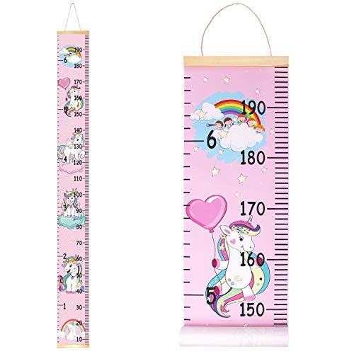 Metro per misurare l'altezza della parete per bambini, in legno, 20 x 200 cm, misura dell'altezza della tela per decorazione da parete con unicorno,