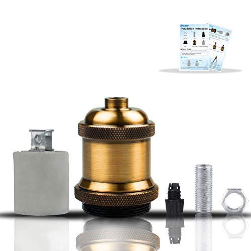 DiCUNO E27 Vintage Portalampada, Edison retro lampada a sospensione, Adattatore in ceramica solida, 6 Pezzi di ottone vintage socket 5