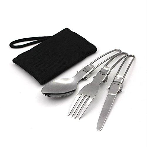 Outdoor portatile campeggio posate tre pezzi in acciaio INOX piegato barbecue da tavola coltello/forchetta/cucchiaio