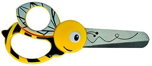 Fiskars Forbici per bambini a forma di ape, A partire da 4 anni, Lunghezza: 13 cm, Per destrorsi e mancini, Lama in acciaio inossidabile/Impugnature in plastica, Giallo, 1003747