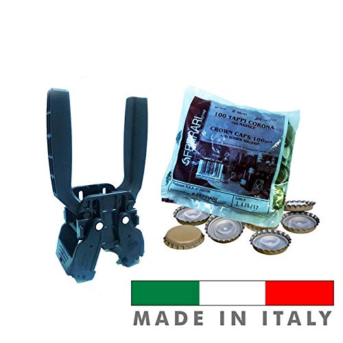 Palucart TAPPATRICE CAPSULATRICE Manuale 2 Leve Kelly per Tappi A Corona 26 MM Bottiglie Vino Birra Ferrari Group + 100 Tappi a Corona Ø 26 mm