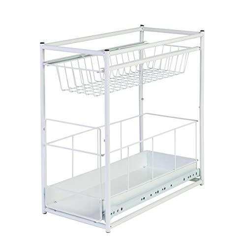 Axentia Organizer per Armadietti in Metallo, Bianco, 23 x 45 x 45 cm