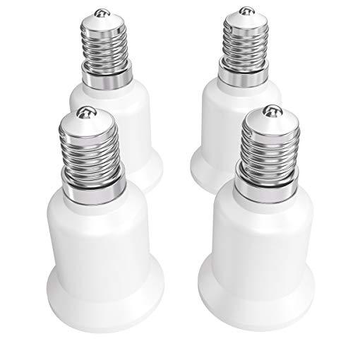 kwmobile adattatore lampadina E14 E27-4x attacchi porta lampada da E14 a E27 convertitore per lampadine alogene LED a risparmio energetico 5