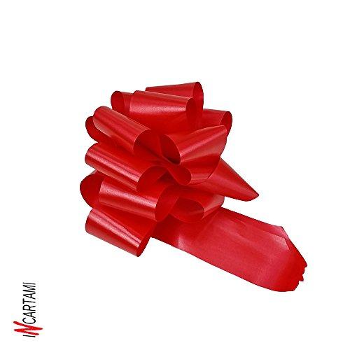 confezione da 50 coccarde autotiranti rosse gran fiocco autotirante rosso da antenna specchietto auto, nastro da 5 cm, lunghezza 150 cm per feste, diametro coccarda 16 cm, laurea, matrimonio, eventi