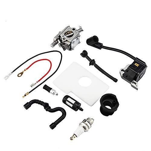 Jeffergarden Carburatore Bobina di accensione Set carburatore per Stihl 017 018 MS170 MS180 Motosega