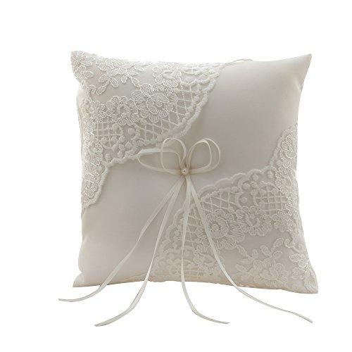 Amajoy avorio raso e pizzo matrimonio anello cuscino 21cmx 21cm anello portatore per cerimonia di nozze