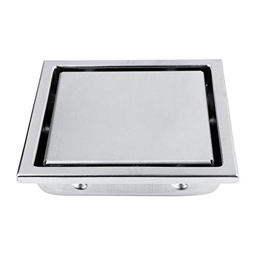 TOPINCN Scarico a pavimento Acciaio inox a forma quadrata Scarico per doccia antiodore Porta rifiuti per bagno