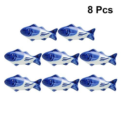 UPKOCH – Supporto creativo per bacchette in ceramica, a forma di pesce, per forchetta, coltello, cucchiaio, supporto per matrimoni, feste, decorazione per la casa e la cucina, 8 pezzi