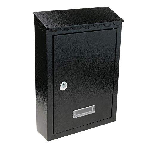PrimeMatik – Cassetta delle Lettere Casella Postale e Posta Metallico di Colore Nero da Parete 210x60x300mm