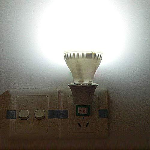Portalampada E27 con Adattatore e Spina EU, Spina Girevole 360°con Interruttore On/Off, per Lampade da Tavolo, Luce Notturna, Lampada Smart LED, Faretti a Parete, set di 2 (senza lampadina) 3