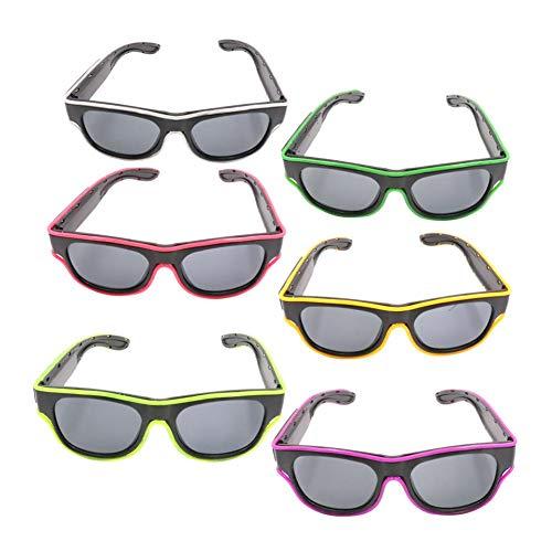Ridecle LED illuminano gli occhiali da festa El Wire Glow lampeggiante Neon Rave Occhiali da sole con 3 modalità per adulti Halloween Party Carnival Disco Bar Club EDM Costumi
