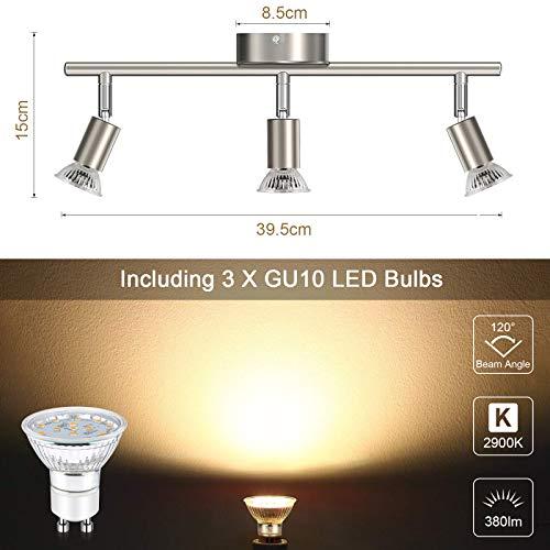 Faretti LED da soffitto orientabili I plafoniera moderna da soffitto per l'illuminazione da interno I luce calda I corpo metallo, color nickel opaco I include 3 lampadine LED GU10 da 3.5W, 380Lm,230V 9