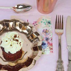 Decorline-Stoviglie plastica Deluxe- per Feste Decorate-Party -Piatti di plastica USA e Getta- Color Bianco con Bordo Nero/Oro- Royal Collection 2