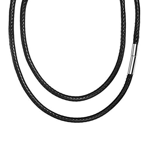 3mm di larghezza collana di cuoio da uomo senza pendente nero,collana di ecopelle cavo di cera intrecciato cavo di cuoio catena braccialetto con chiusura in acciaio inossidabile per ragazzo donna 50cm