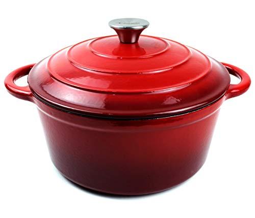 Pentola in ghisa smaltata con forno olandese con doppio manico e coperchio Casseruola per piatti – cocotte rotonda, 26 cm, rosso 3