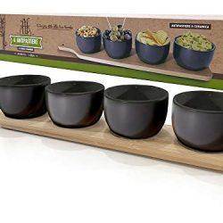 BUYSTAR Antipastiera in Ceramica Nera con 4 coppette | Antipastiera Cocktail | Bellissima Idea Regalo | Design Orientale 2