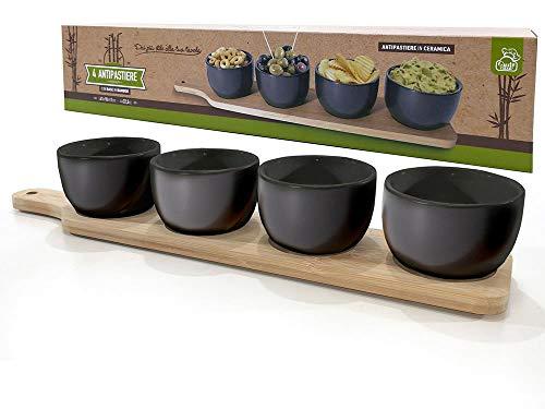 BUYSTAR Antipastiera in Ceramica Nera con 4 coppette | Antipastiera Cocktail | Bellissima Idea Regalo | Design Orientale