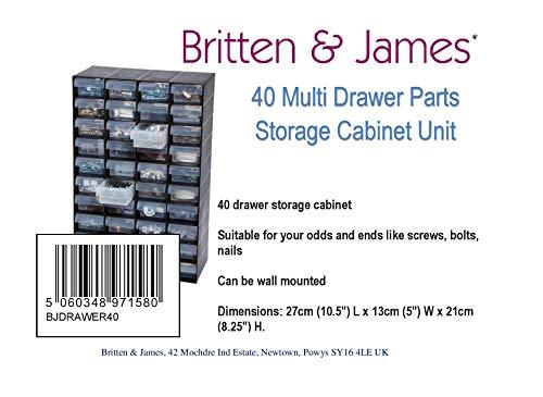 Britten & James 40 Cassettiera in plastica per Piccoli Oggetti. Perfetto per casa, Garage o capannone. Mantiene Le Cose organizzate e in Ordine. Resistente e Durevole, Quindi durerà per Anni. 6