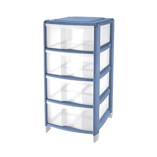 Tontarelli Cassettiera Bambù Medium con 4 cassetti alti, in plastica, colore Trasparente / Azzurro 2