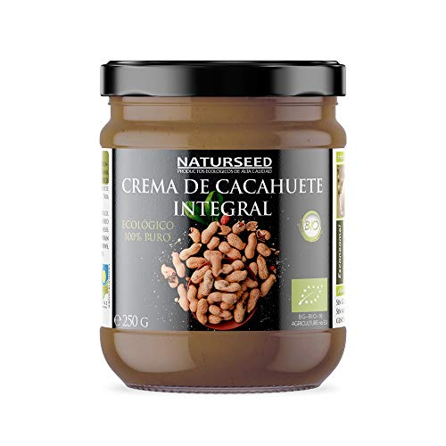 Naturseed – Burro di arachidi biologico naturale 100% – senza zucchero, senza sale, senza glutine, senza lattosio – Arachidi crude con la pelle – Sapore dolce – Proteine – Ricette gratis (250gr)