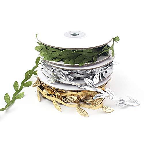 FUJIE 3 Rotoli Nastro di Foglie Artificiali Piante Artificiali Nastro di Raso Tessuto Appesa Foglie di Edera per Matrimoni, Decorazioni fai da te Creative, L'oro / Argento / Verde 3