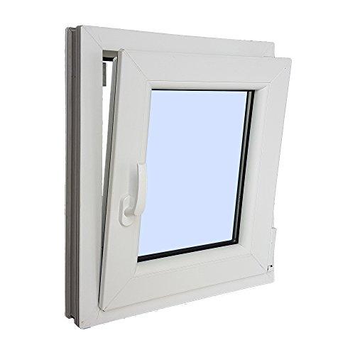 VENTANASTOCK – Finestra singola in PVC, con apertura lato sinistro, sistema anta-ribalta, in vetro Carglass, dimensioni: 500×600