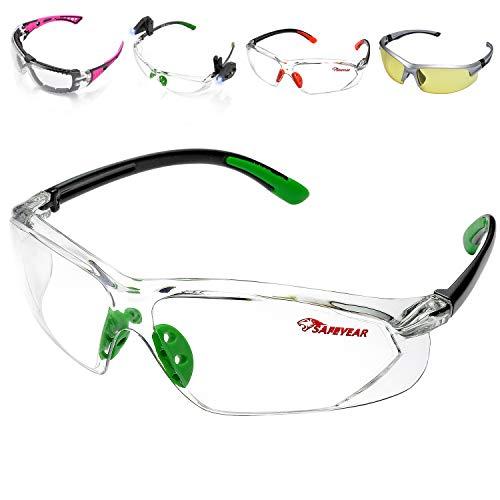 SAFEYEAR Occhiali Protettivi da Lavoro Uomo Trasparenti con Lenti antiappannamento – SG003GN Laboratorio Chimico Antiappanno Occhiale Protettivi Occhiali Di Protezione CE EN166 Colore Verde