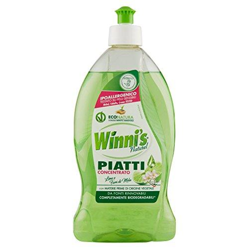 Winni'S – Detergente Piatti, Naturel, Concentrato, Ipoallergenico, Con Materie Prime Di Origine Vegetale, Lime E Fiori Di Mela –  500 Ml
