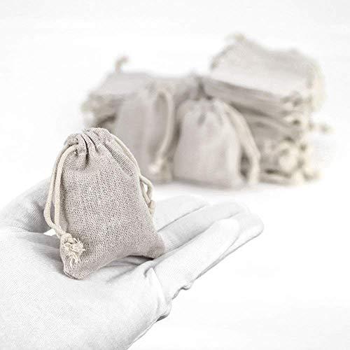 RUBY-50pcs sacchetti di gioielli sacchetti di tela con coulisse riutilizzabile sacchetto del regalo iuta per la festa nuziale 7
