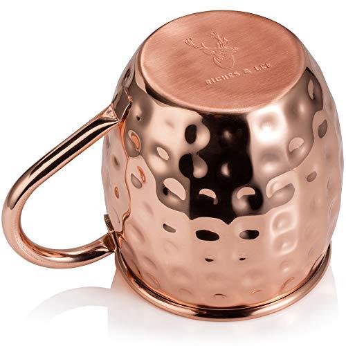 Bicchiere di Rame Moscow Mule – Fatto a Mano in Rame Puro al 100% – Bicchiere da 500 Grammi a Forma di barile con Effetto martellato in Confezione Regalo 7
