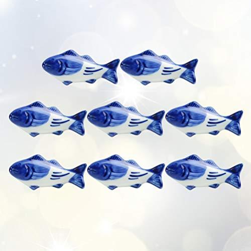 UPKOCH – Supporto creativo per bacchette in ceramica, a forma di pesce, per forchetta, coltello, cucchiaio, supporto per matrimoni, feste, decorazione per la casa e la cucina, 8 pezzi 10