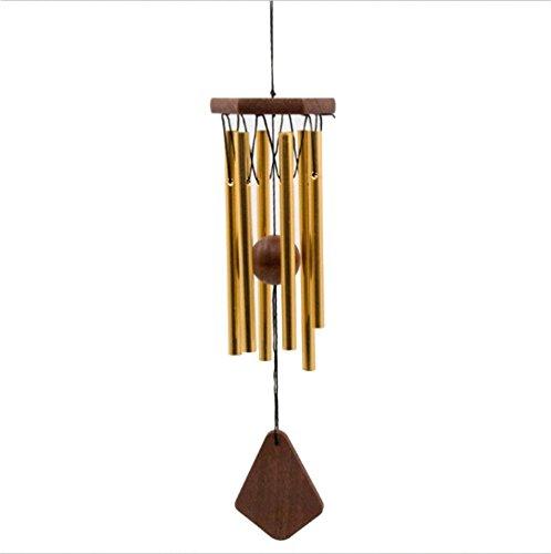 Deerbird® Oro Campana del Vento Metallo 6 Tubo Antiruggine Campana del Vento Oversized di Legno Fatto a Mano Fabbricazione Campana del Vento per Un Regalo di Compleanno