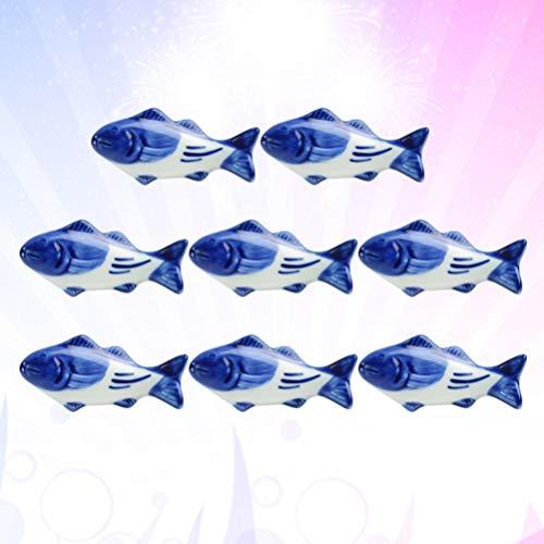 UPKOCH – Supporto creativo per bacchette in ceramica, a forma di pesce, per forchetta, coltello, cucchiaio, supporto per matrimoni, feste, decorazione per la casa e la cucina, 8 pezzi 9