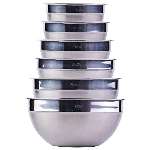 set da 6 ciotole impilabili, in acciaio inossidabile, finitura opaca e a specchio
