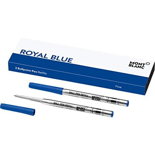 Montblanc 124492 – Refill (F) per penne a sfera, colore Royal Blue (Blu Reale) – Ricariche di alta qualità e colore intenso, punta: fine, 1 x 2 Refill 2