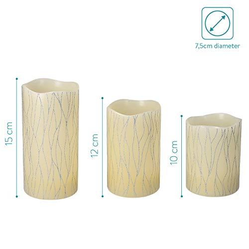 Navaris Set 3x Candele in Cera a LED – con Telecomando Timer e Dimmer – Candela Pilastro a Batteria – Decorazione Casa – Bianco Caldo – Div. Design 7