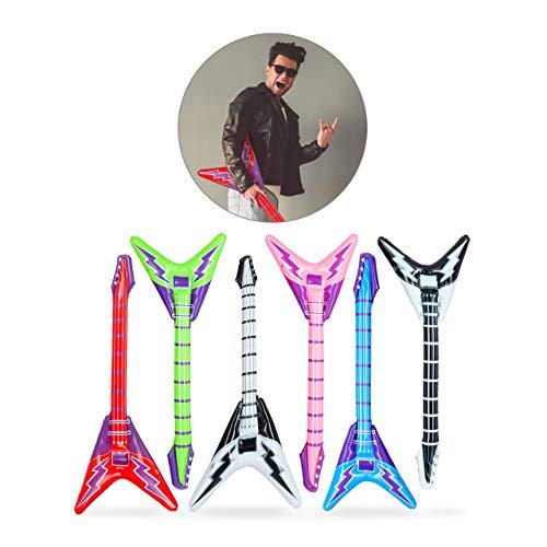 "relaxdays- Chitarra Gonfiabile ""Elettrica"", Air Guitar, Accessorio per Karaoke e Feste, 95 cm, Vari Colori Ragazzi, VariColori, 95,00 x 38,00 x 9,00cm, 10024258 2"