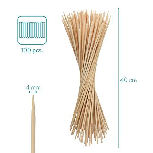 Navaris Spiedini Legno di bambù – Set x100 Bastoncini 40 cm x 4mm – Stecchini Lunghi per Grigliate Barbecue Arrosto Zucchero Filato Marshmallow Feste 4