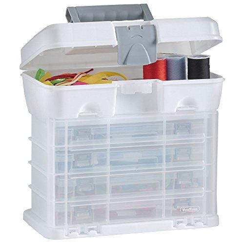 VonHaus Utility Tool box Storage organiser custodia da trasporto con 4cassetti trasparenti e divisori regolabili, bianco