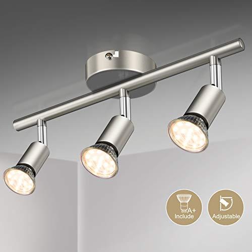 Faretti LED da soffitto orientabili I plafoniera moderna da soffitto per l'illuminazione da interno I luce calda I corpo metallo, color nickel opaco I include 3 lampadine LED GU10 da 3.5W, 380Lm,230V