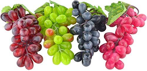 4 grappoli di uva artificiale, frutta finta per la casa e la cucina, adatta come decorazione per feste e matrimoni o come arredo scenico per fotografie, colore: nero, rosso, verde e viola