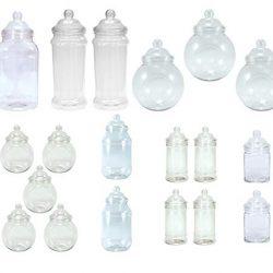 sweets desire – Confezione di 19 barattoli in plastica, dimensioni varie; ogni barattolo viene fornito in dotazione col relativo coperchio