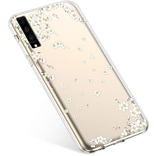Uposao Compatibile con Samsung Galaxy A7 2018 A750 Custodia Silicone Morbido Ultra Sottile Slim TPU Flessibile Case Gomma Cassa Antiurto Bumper Protettiva per Samsung Galaxy A7 2018 A750,Fiore Bianco