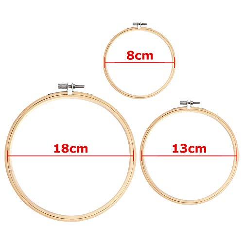 AYE 6 Pezzi Cerchi da Ricamo bambù Punto Croce Cerchio Anello per Fai da Te Arte Artigianato a Portata di Mano Cucito, 8 cm, 13 cm e 18 cm 7