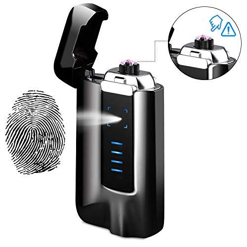 NAOLIU Accendino Ricaricabile USB, Arco Accendino, Antivento, Accendino Elettrico con Indicatore Batteria, Accendino al Plasma con Touch Screen per Barbecue, Candela, Sigaro e Sigaretta 2